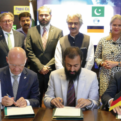 Bavarian Business Delegation to Pakistan, April 2019. Meeting Jahanzeb Burana, Chief Executive Officer, Punjab Board of Investment and Trade (PBIT) Philomena Poetis, MD, Munich Members, Dr. Michael Kerkloh, CEO, Munich Airport, Klaus Dittrich, CEO, Messe Muenchen (Munich Trade Fair), Honorary Consul Dr. Pantelis Christian Poetis, CEO, POWERGROUP, Patricia Poetis, MD, Life Fund Equity Invest