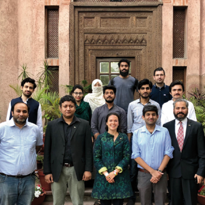 Bavarian Business Delegation to Pakistan, April 2019. Group picture of the StartUp-Conference among others with: Shaf Ali, CEO, ICSS Engineering, Muhammad Suleman Yameen, Chief Executive Officer, Cyber Security, Philomena Poetis, MD, Munich Members, Emad Ehsan, Team of Aabshar Pvt. Ltd., Co-Founder Traverous, Muhammad Hassan Ahmed, Business Development, Executive, Plan 9, Punjab Information Technology Board, Ibrahim Lughmani, Senior Managing Consultant, IBM, Pakistan, Rana Waqas, Additional Director, Head of Transactions Department, Punjab Board of Investment & Trade, Mafaz Ahsan, Research Associate, Punjab Board of Investment & Trade
